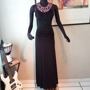 Kay Unger Pink Sequined Collar Evening Maxi Dress